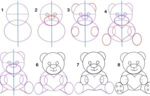 Поэтапный рисунок медведя