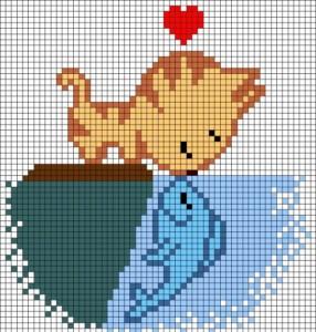 Котенок и рыбка