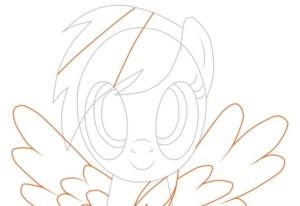 Дорисовываем крылья , и разметку на волосах для радуги