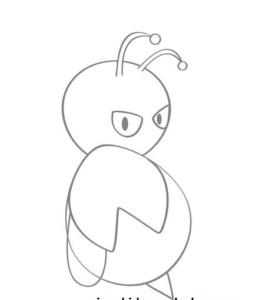 Рисуем голову пчелы , усики инопланетянина и глаза