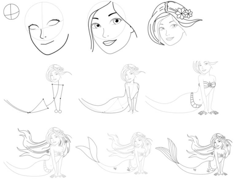картинки учимся рисовать русалочку