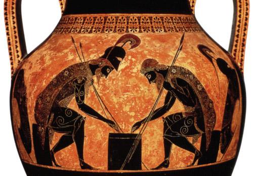 Эксекий. Роспись чернофигурной амфоры: Ахилл и Аякс