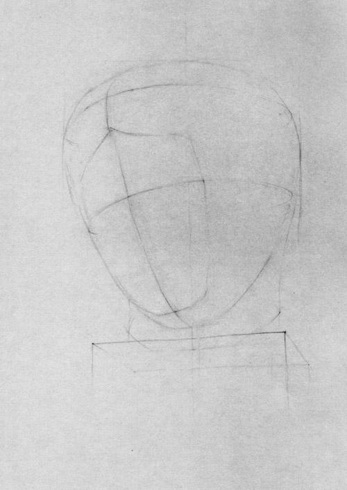 рисунок гипсовой головы дорифора