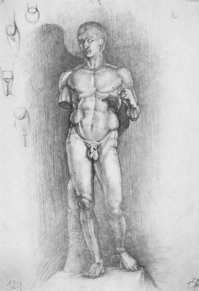 рисунок мужской фигуры статуя Геракла